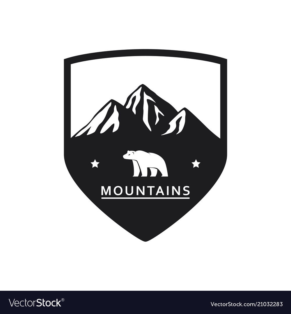 Polar bear mountain icon