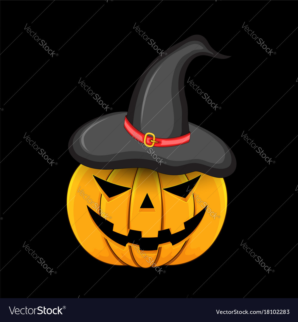 Pumpkin with witch hat on head on black background