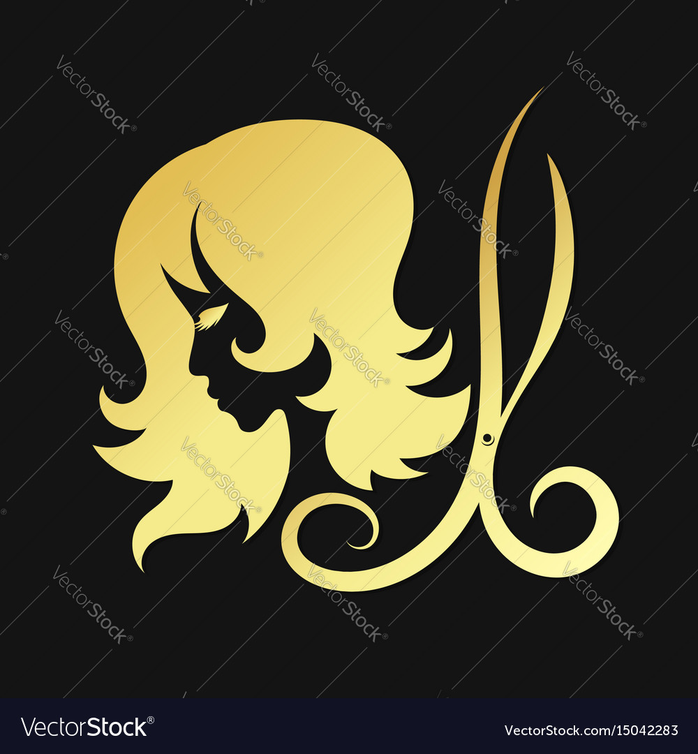 Silhouettes of girls and scissors of gold color
