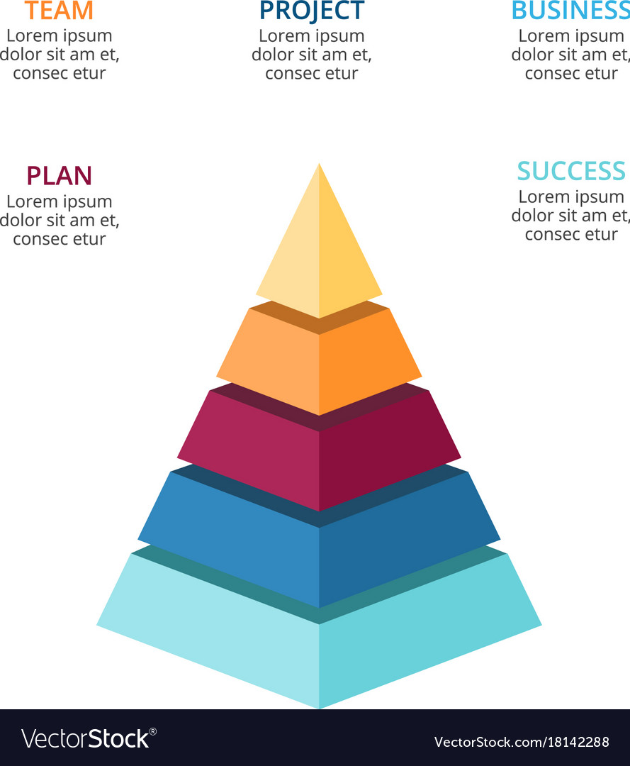 3d pyramid infographic growth diagram royalty free vector Inside Egyptian Pyramids 3d pyramid infographic growth diagram vector image