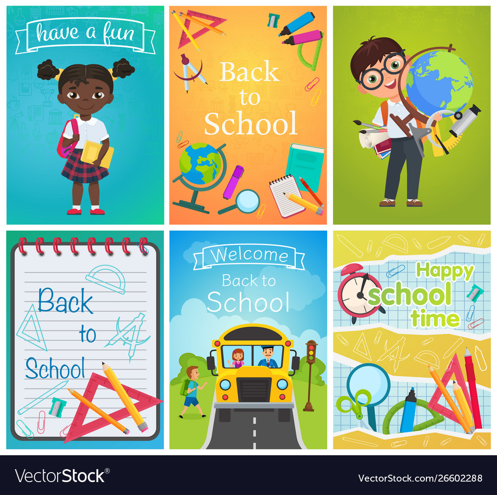 Back to school card template pages set education