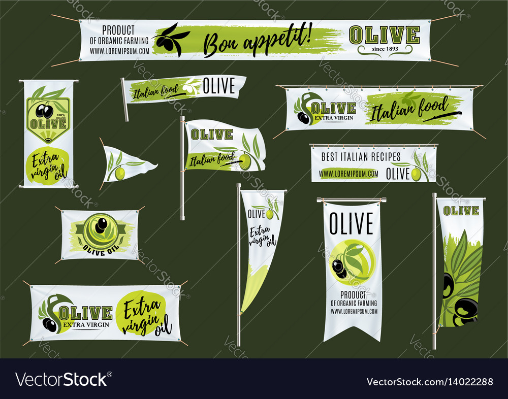 Banner flag roll up stand template with olives