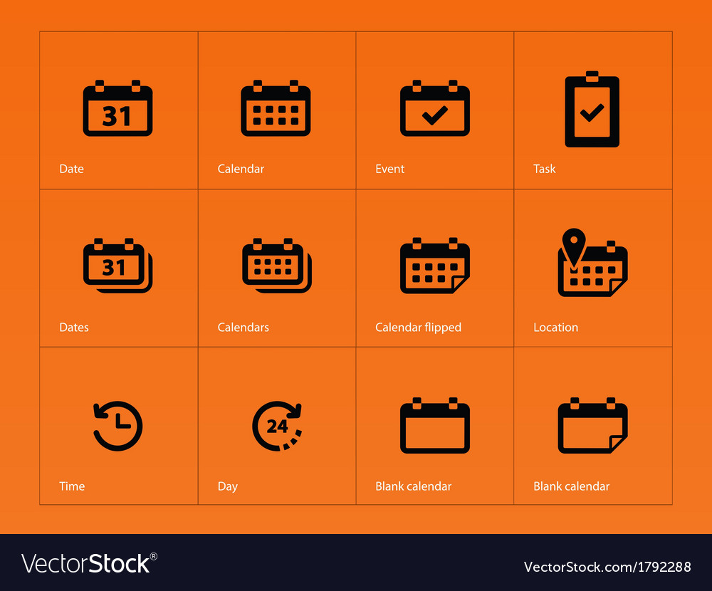 Calendar icons on orange background vector image