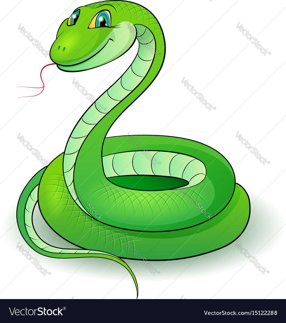 Cartoon of a nice green snake