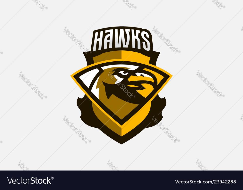 Colorful logo sticker emblem a hawk head