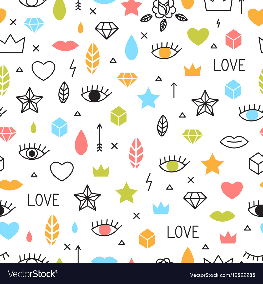Doodle seamless pattern with eyes lips hearts