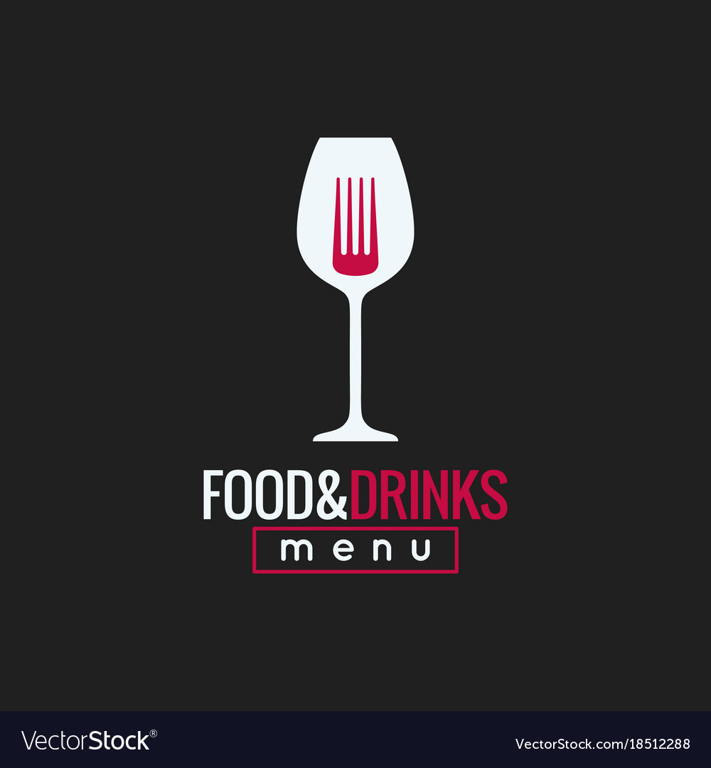 Food and drink logo design wine glass and fork