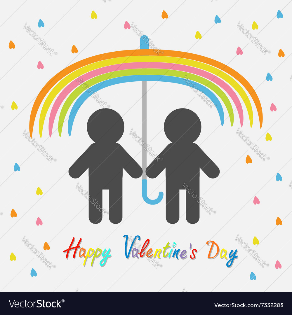 Happy Valentines Day Love card Rainbow umbrella