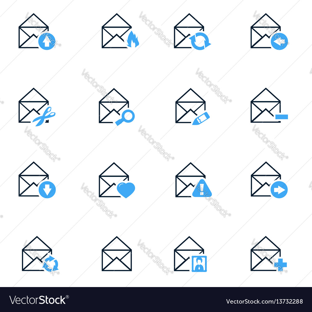 Mail and envelope icons set