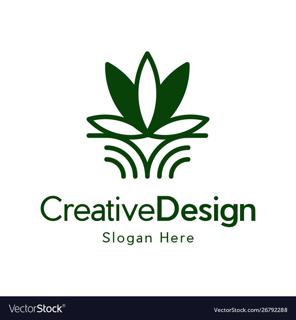 Marijuana leaf outline creative nature logo vector image
