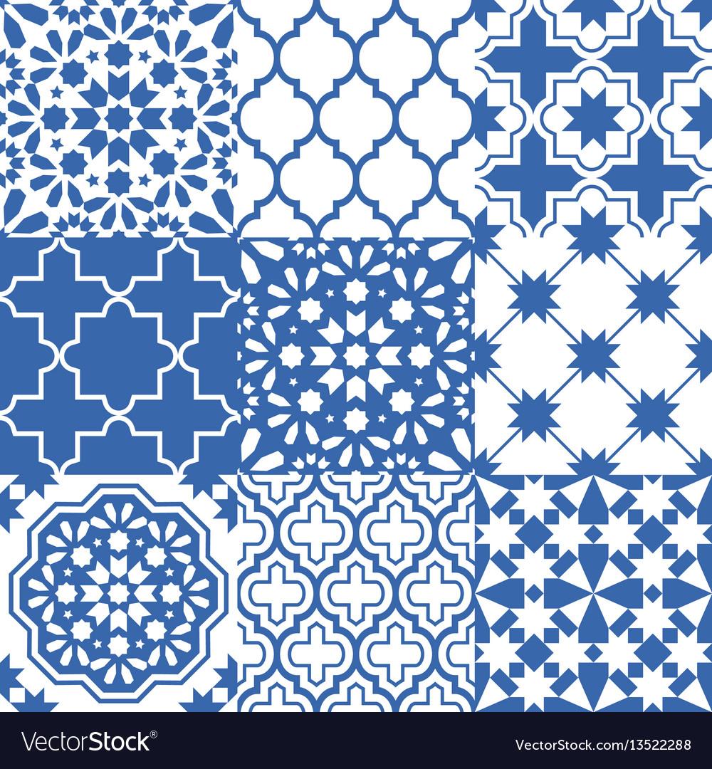 Moroccan tiles design seamless navy blue pattern