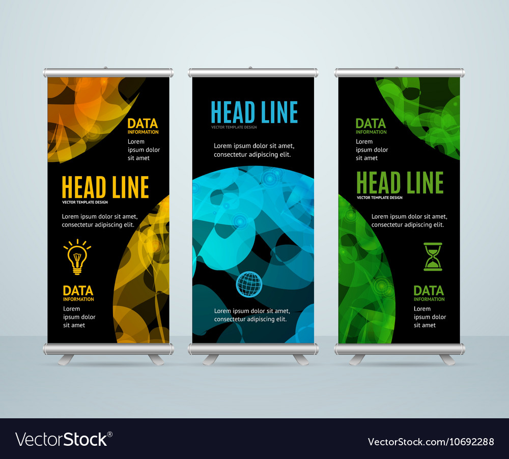 Roll up banner template with abstract sphere