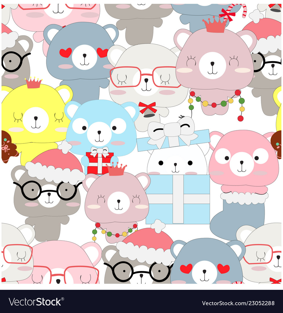 Seamless pattern of celebrated teddy bear
