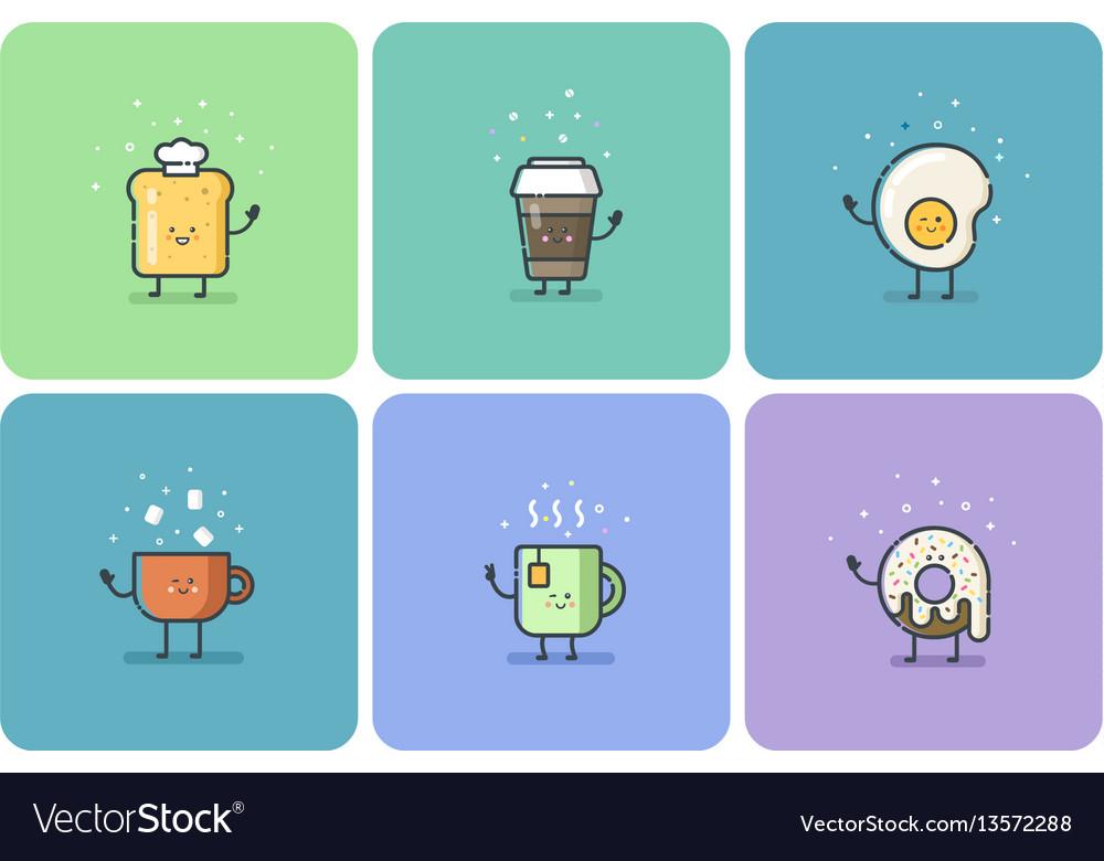 Set of breakfast food flat icons cute cartoon