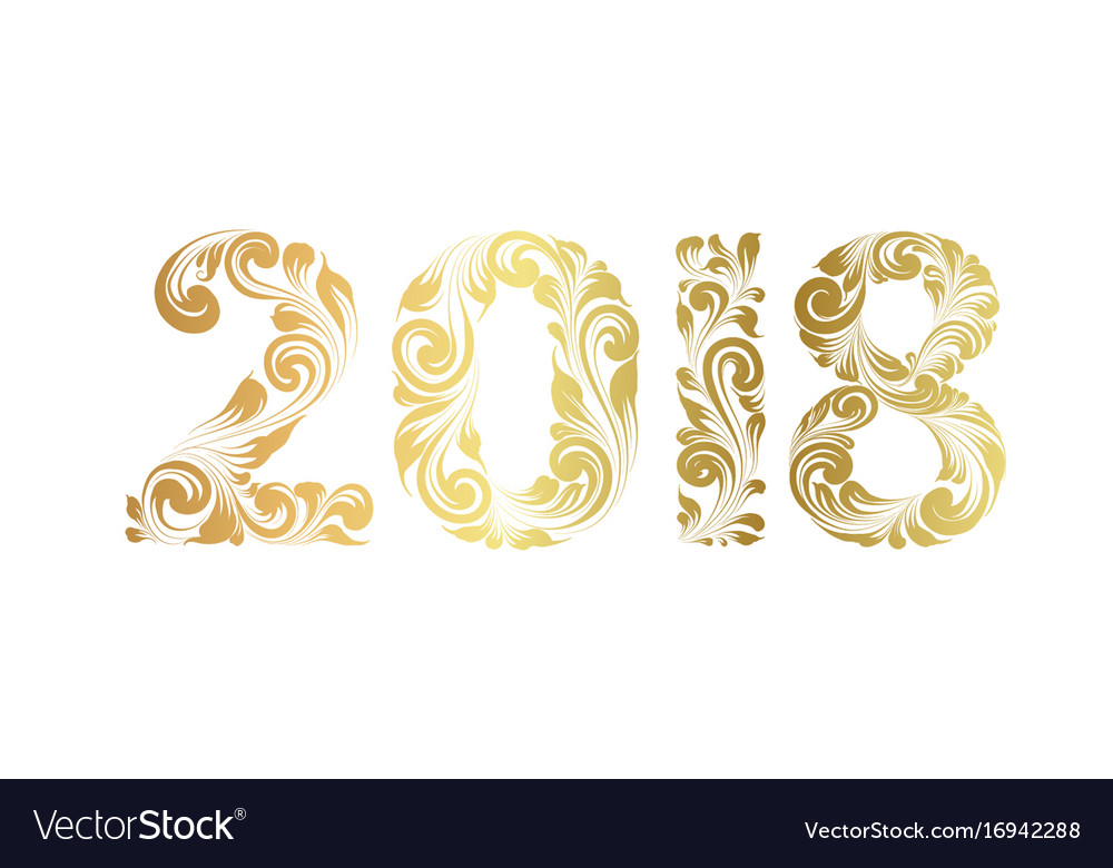 The happy new 2018 year card Royalty Free Vector Image