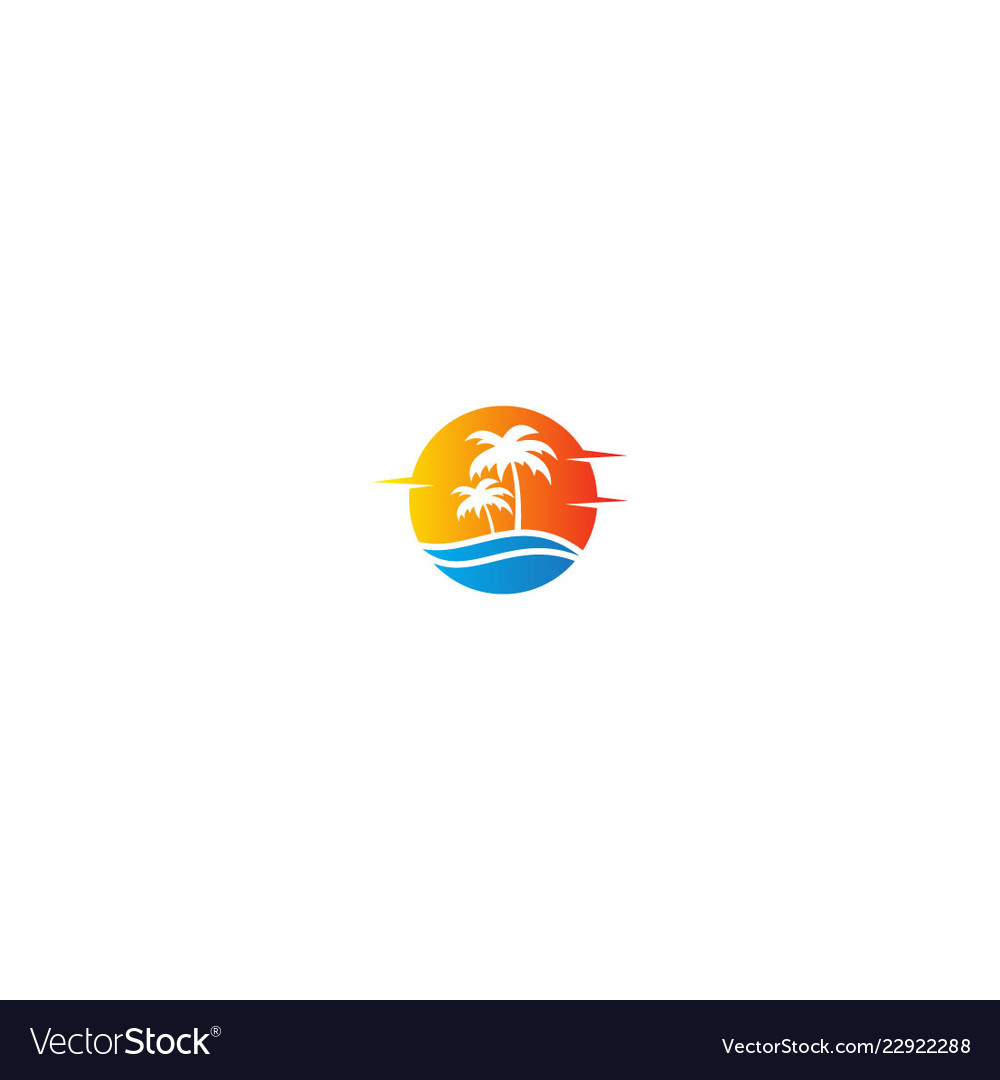 Tropic ocean coconout tree holiday logo