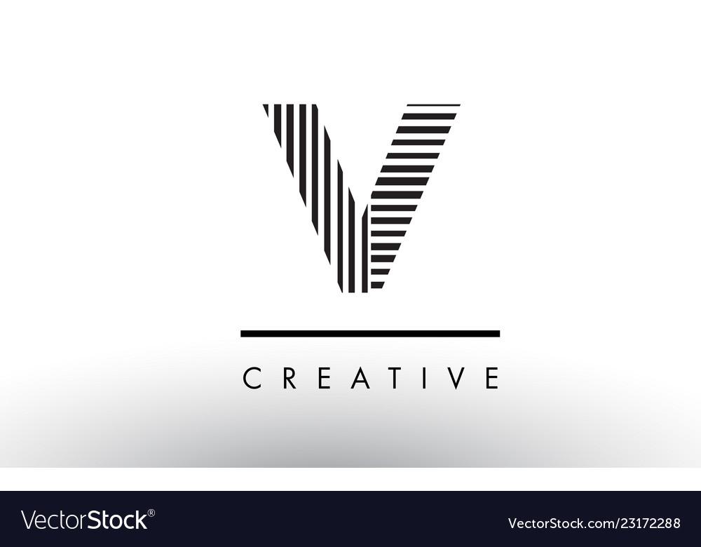 V Black And White Lines Letter Logo Design Vector Image
