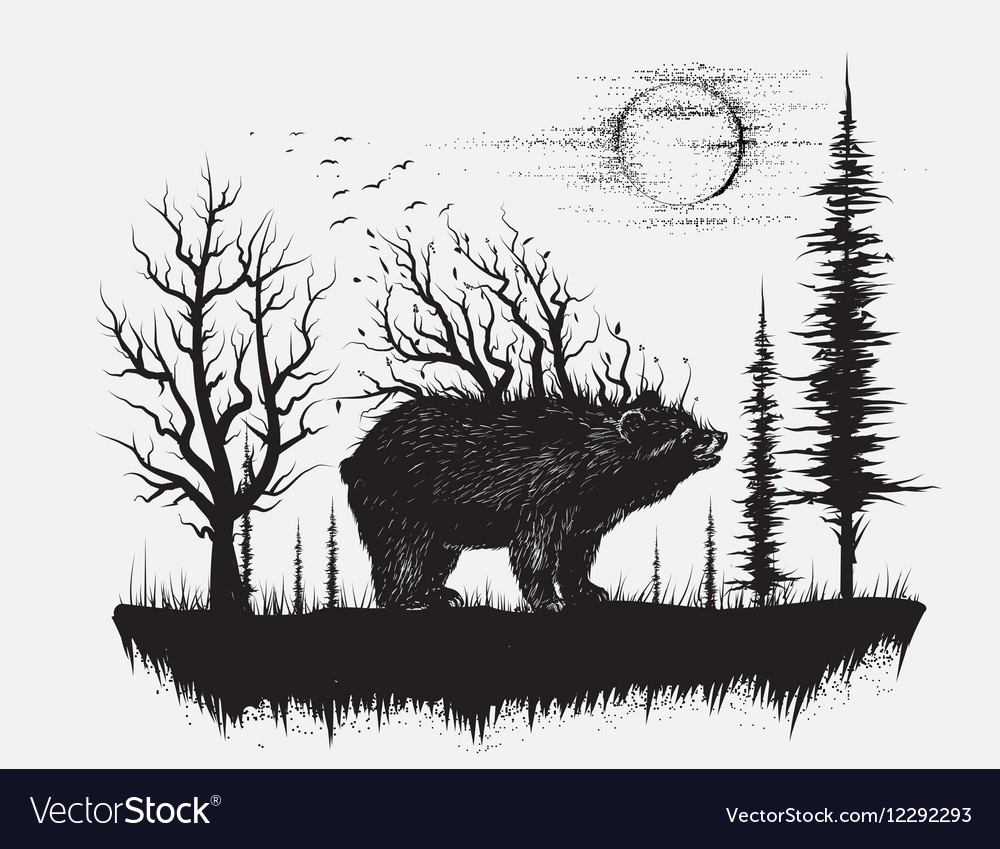 Abstract bear in the strange forest