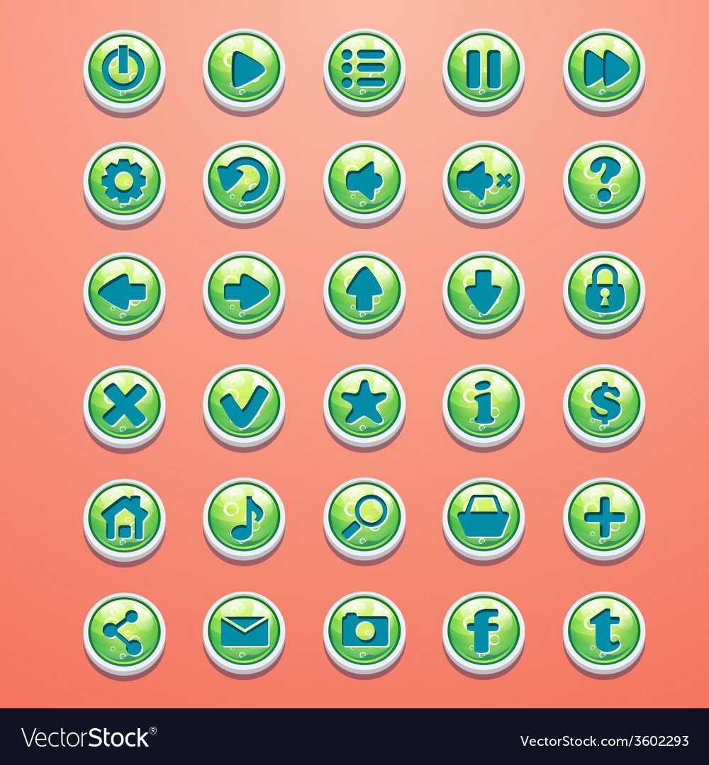 Big set of round buttons cartoon green for the