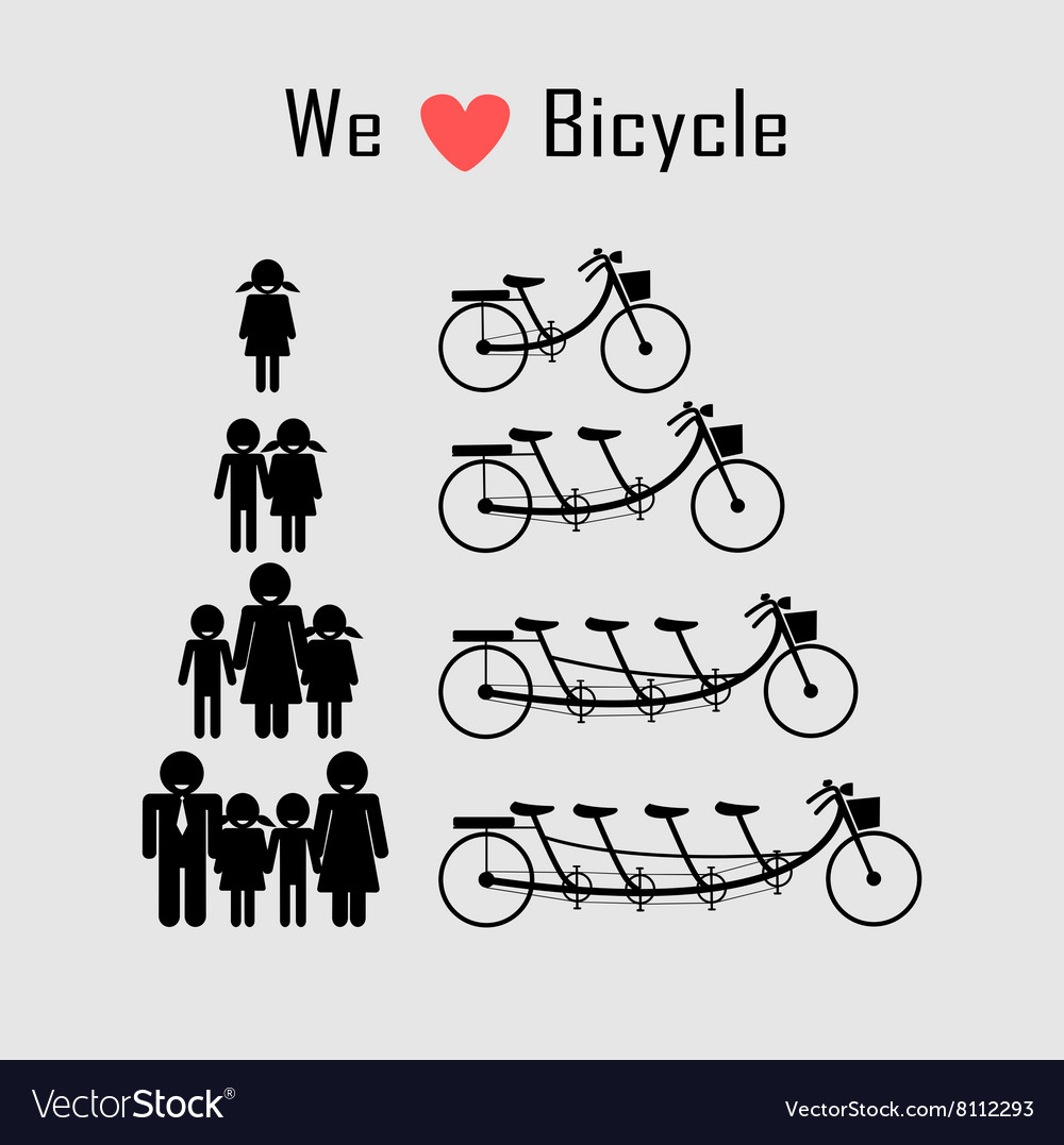 Family icon with bicycle vector image