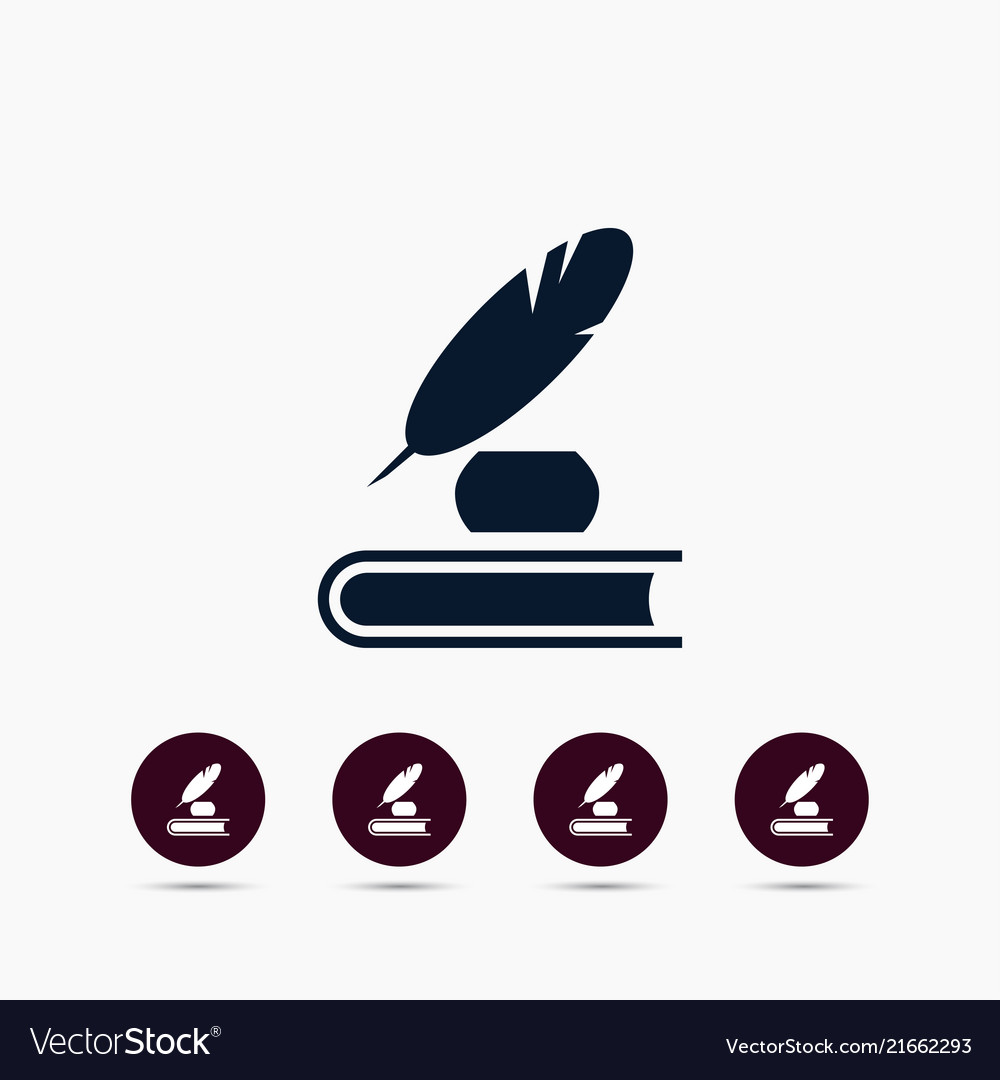 Feather with ink icon simple pen element school