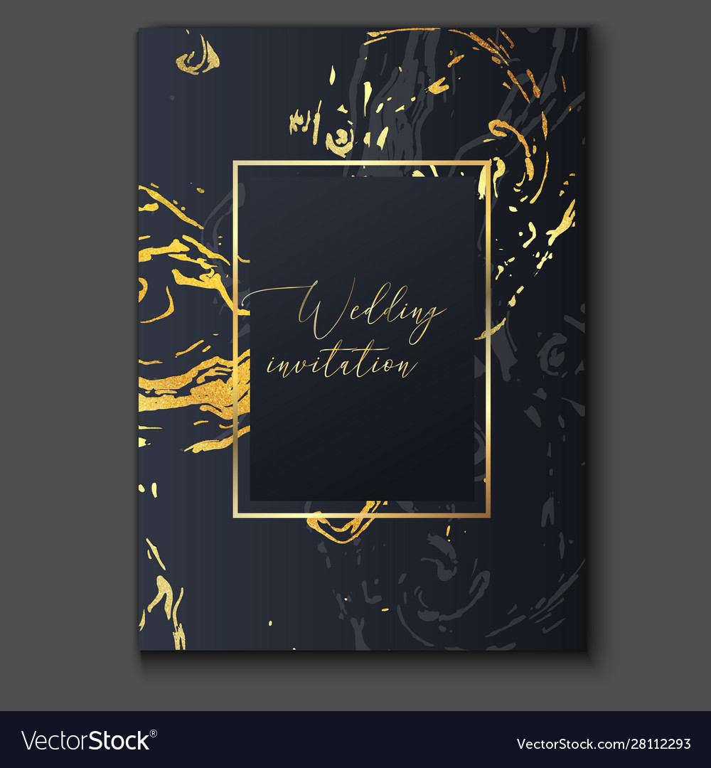 Gold black and grey marble invitation template Vector Image