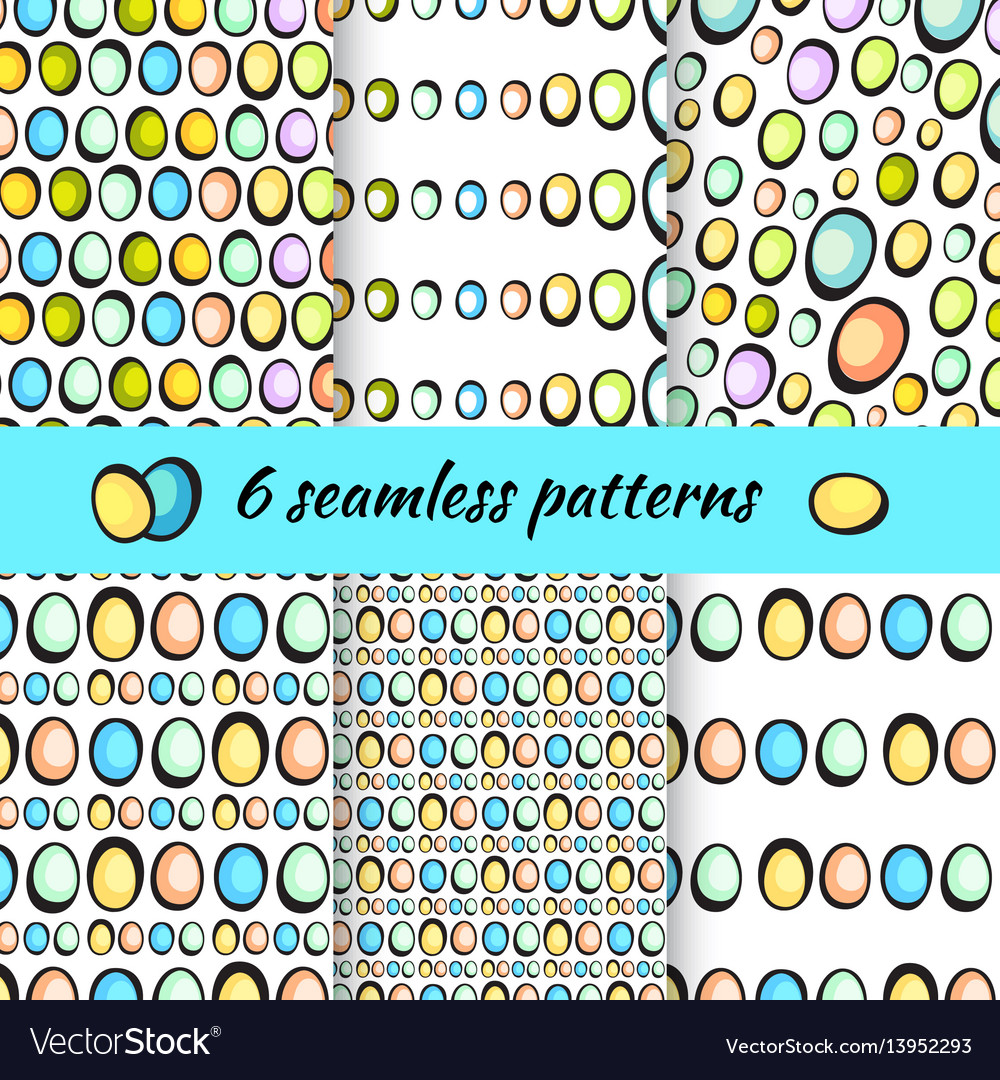 Hand drawn easter eggs pattern on white