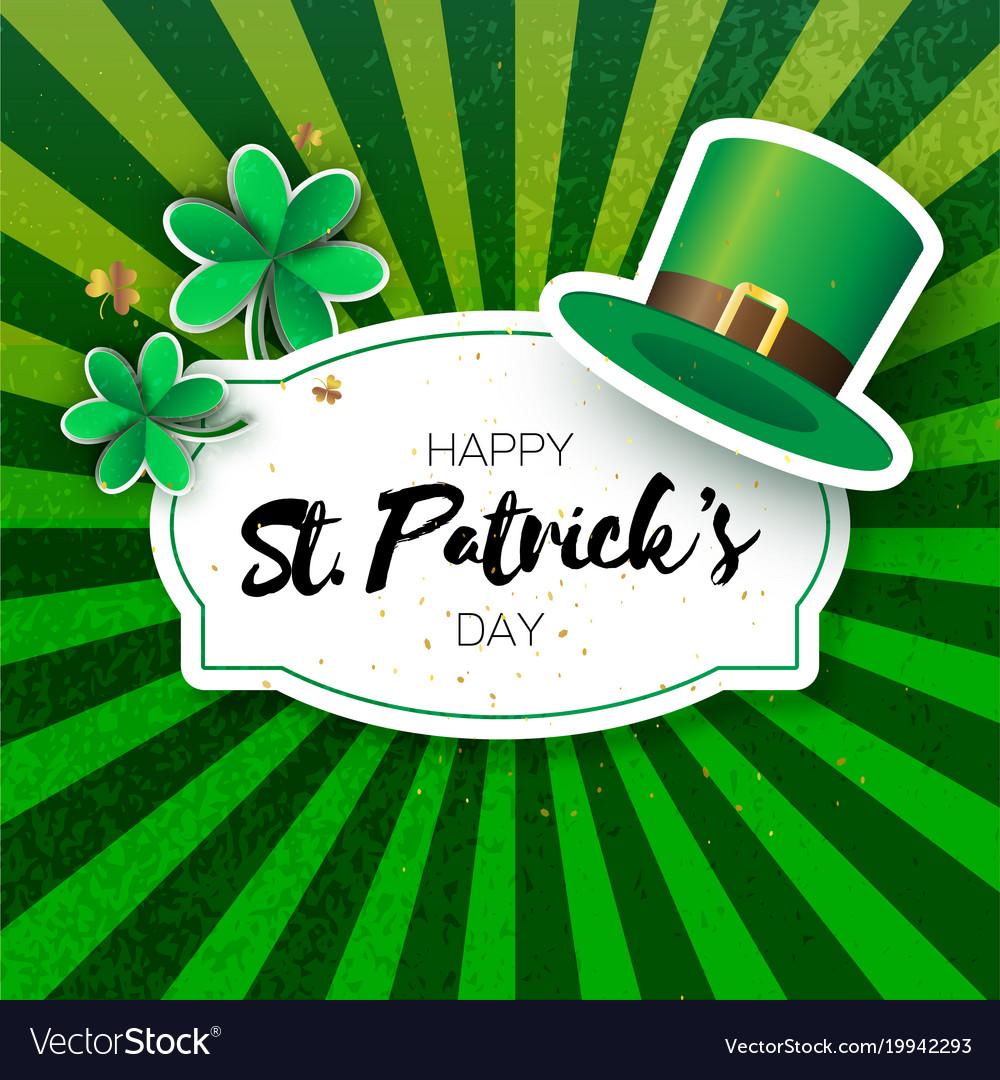 Happy st patricks day greetings card with clover vector image m4hsunfo
