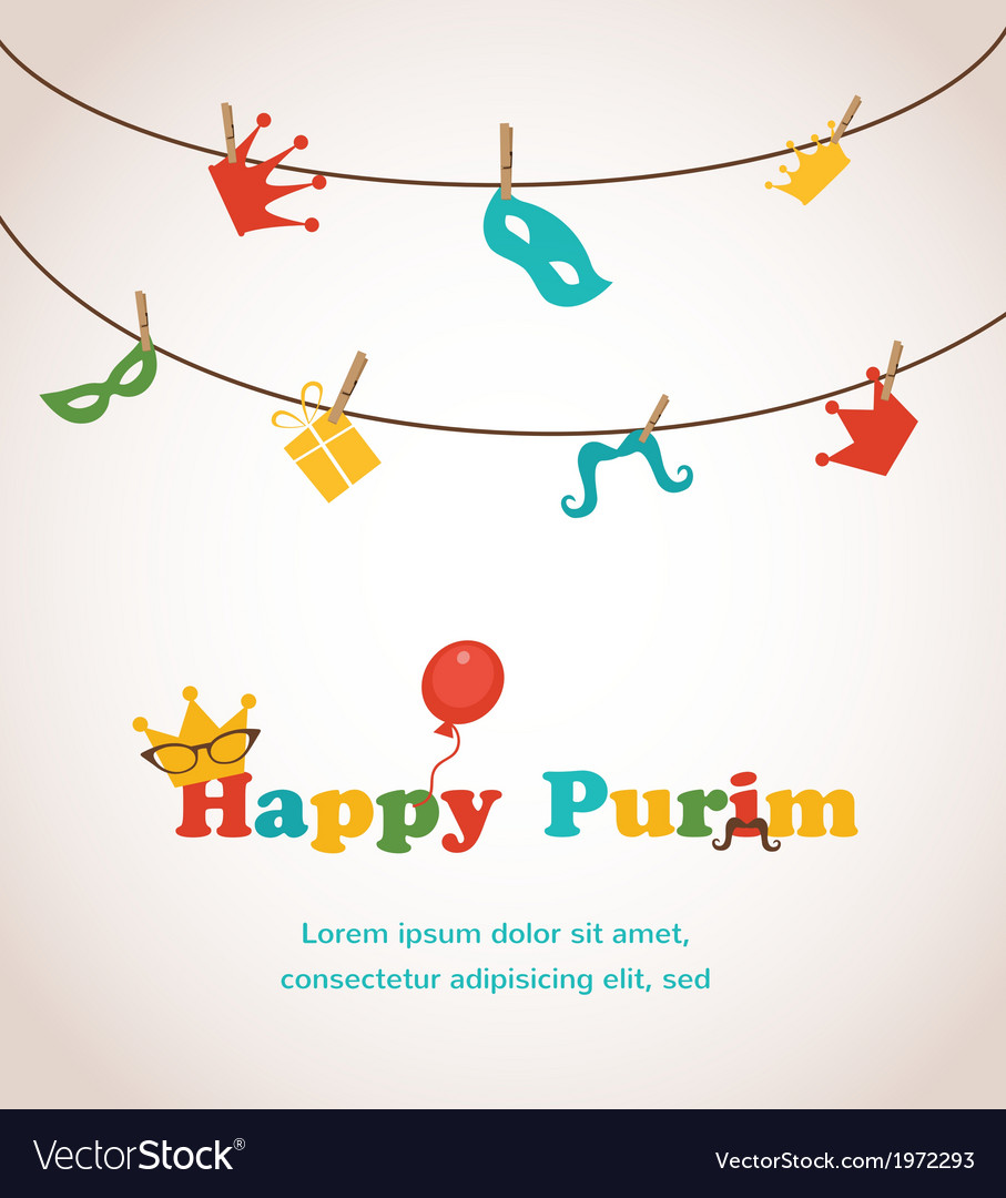 Jewish holiday purim greeting card design vector image m4hsunfo