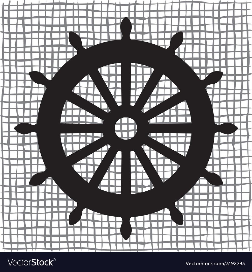Ship wheel icon resize vector image