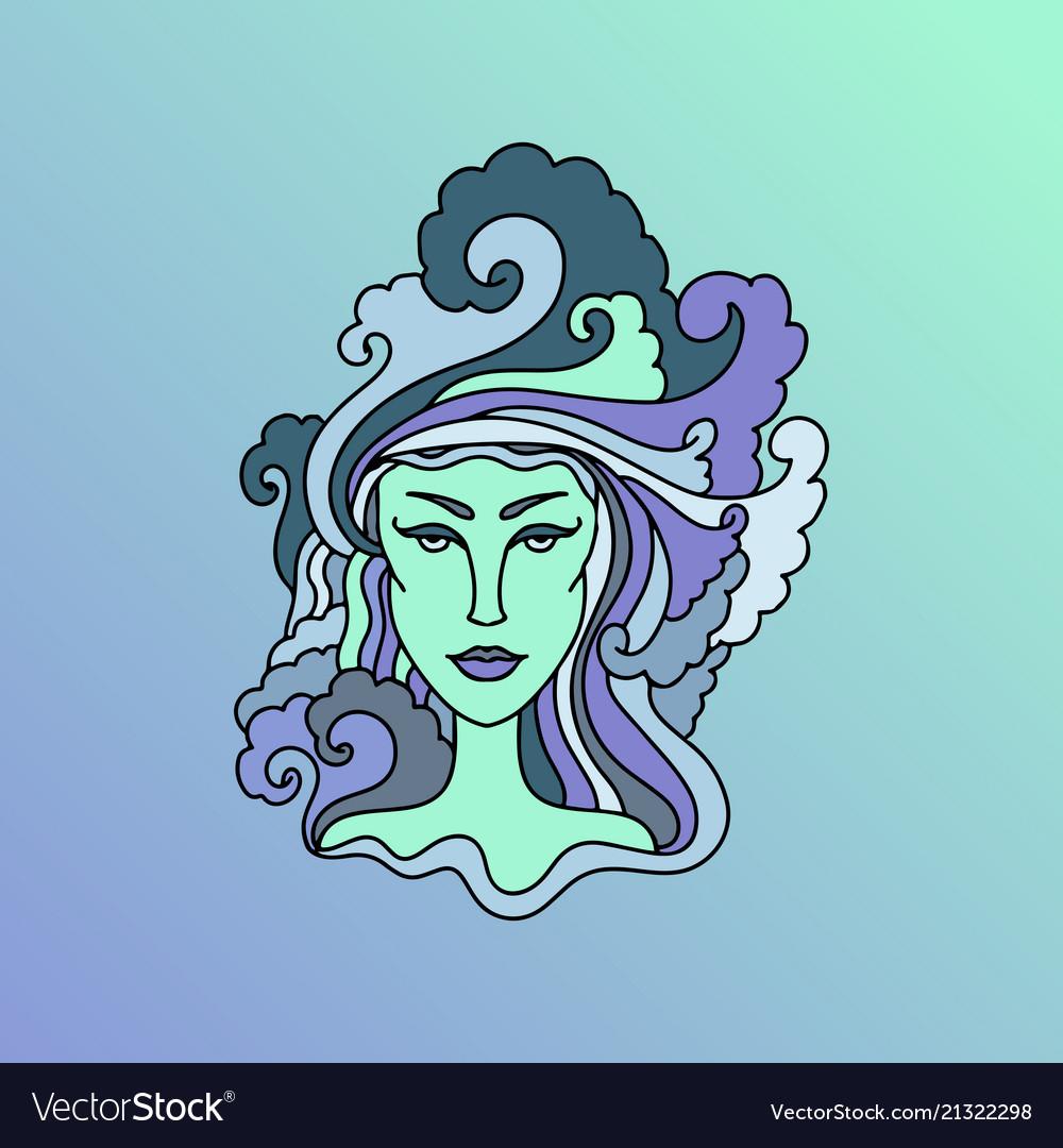 Aquarius girl portrait zodiac sign simple