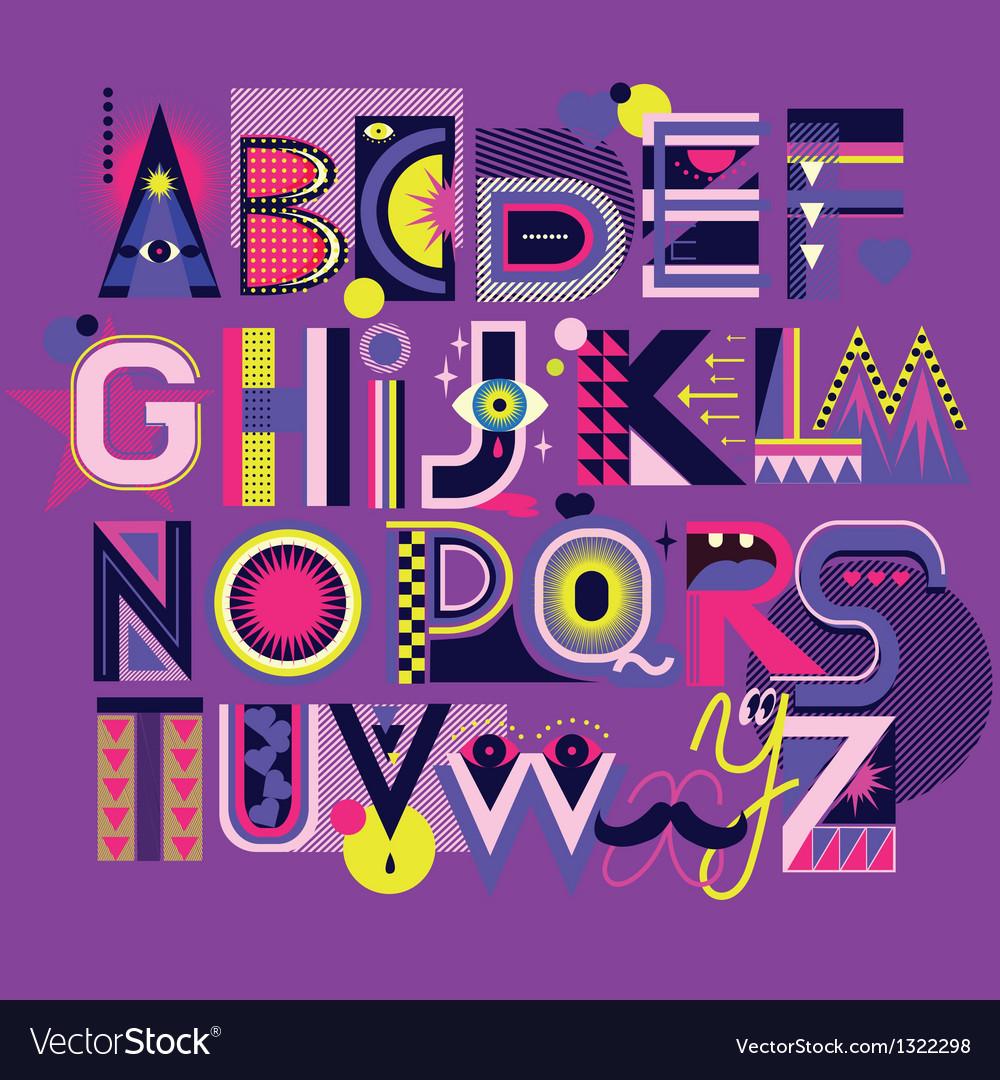 Art neon font