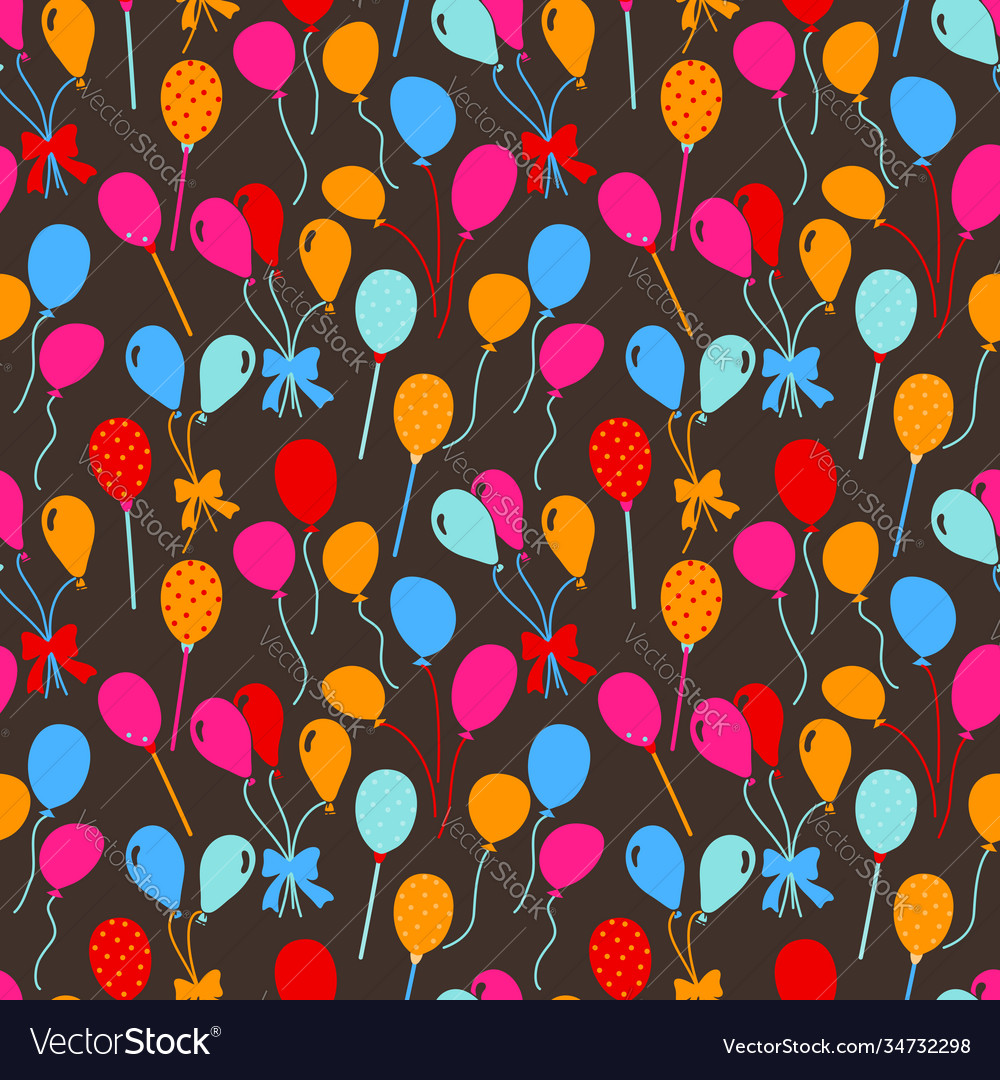 Balloons and confetti seamless pattern birthday