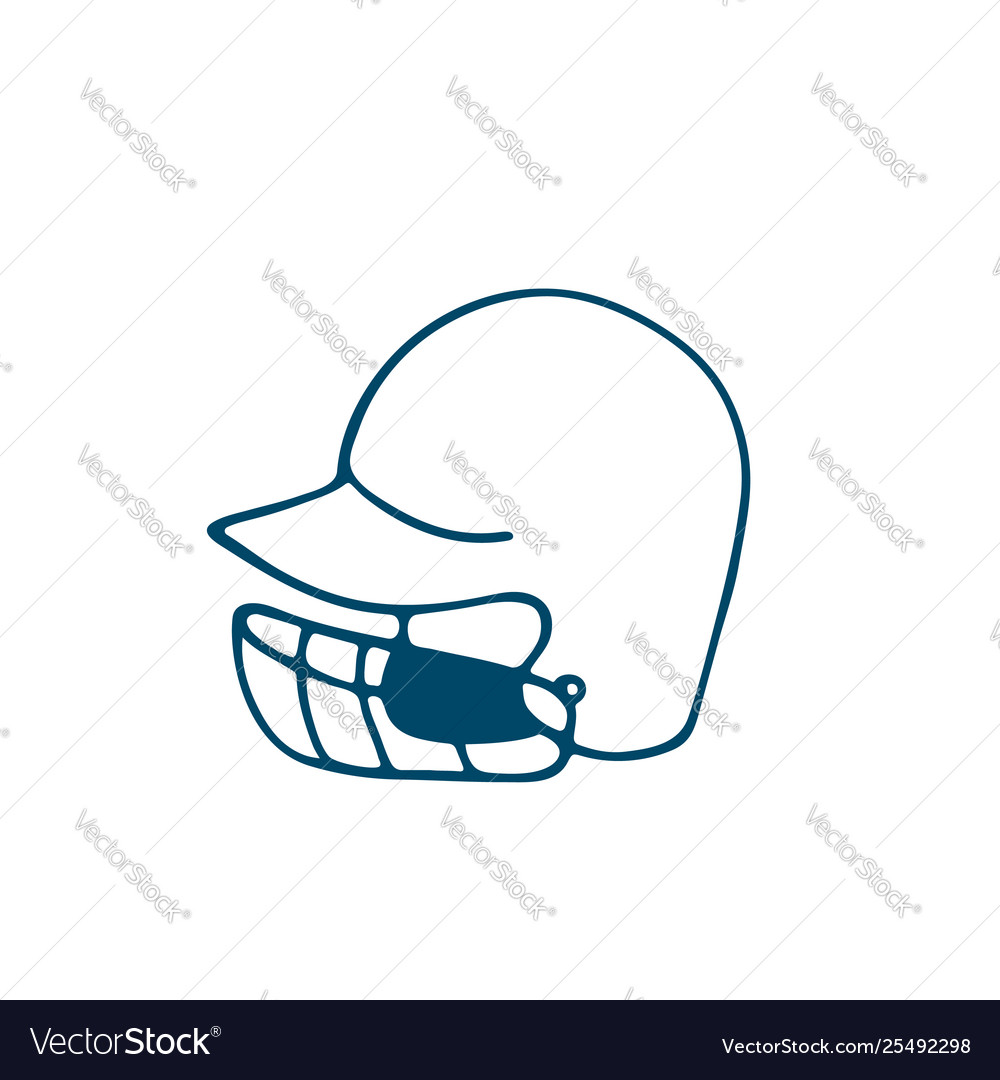 Baseball helmet icon in doodle style isolated on