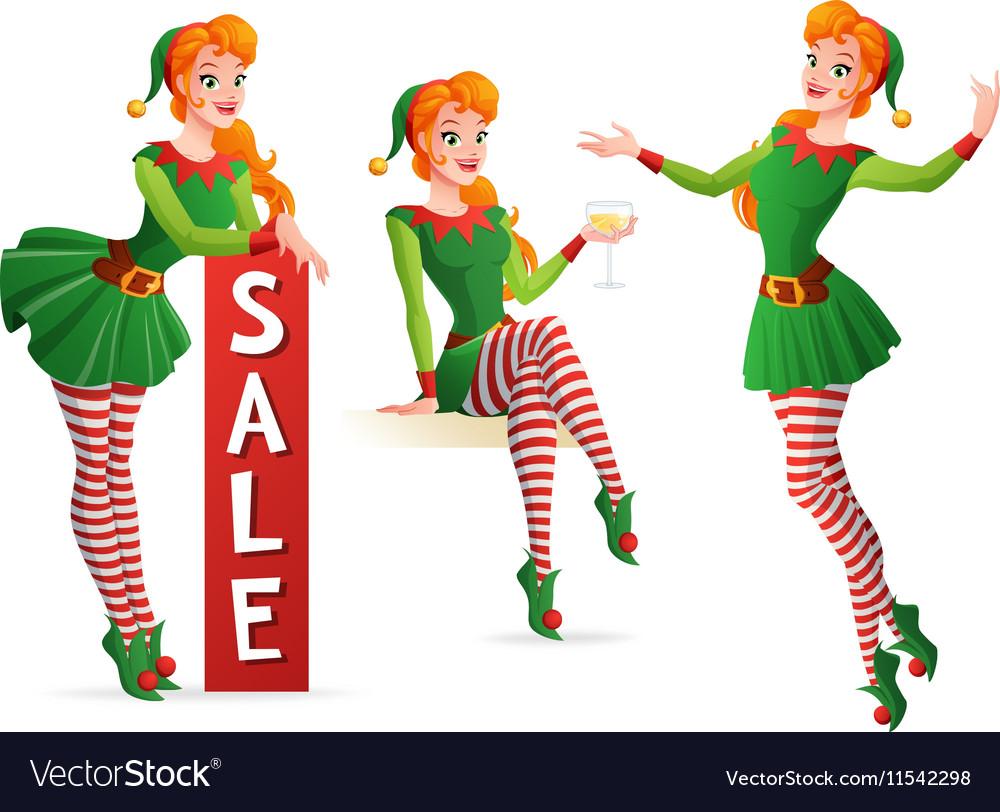 beautiful girl in christmas elf costume in vector image - Christmas Elf Costume