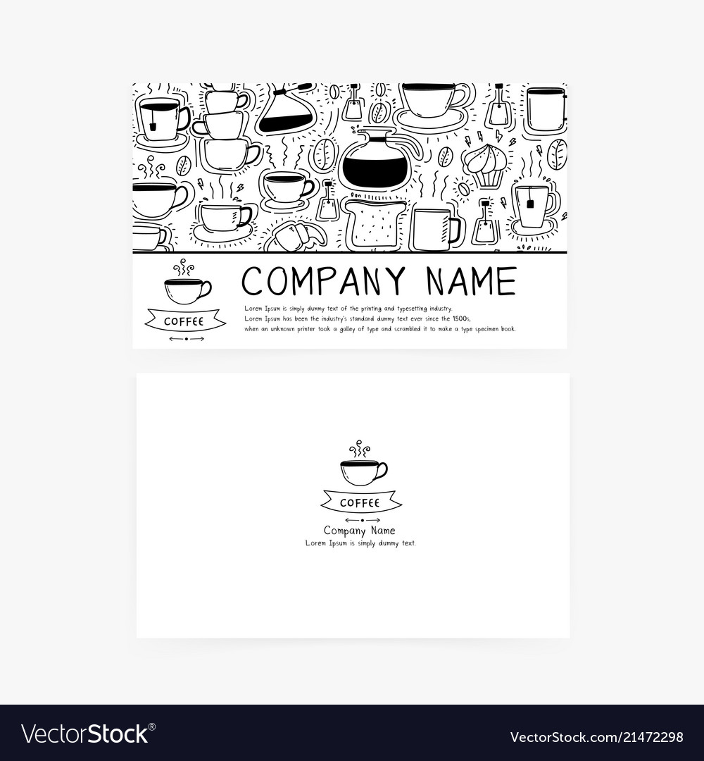 Business cards with hand drawn doodle coffee icons
