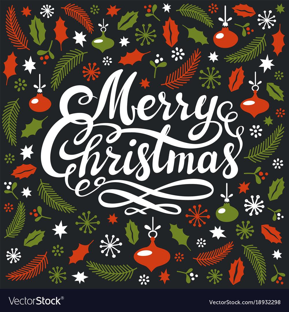 Christmas postcard with christmas elements and