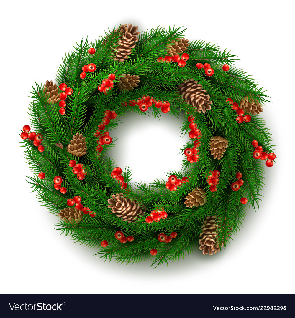 Christmas wreath with berry cone leaves