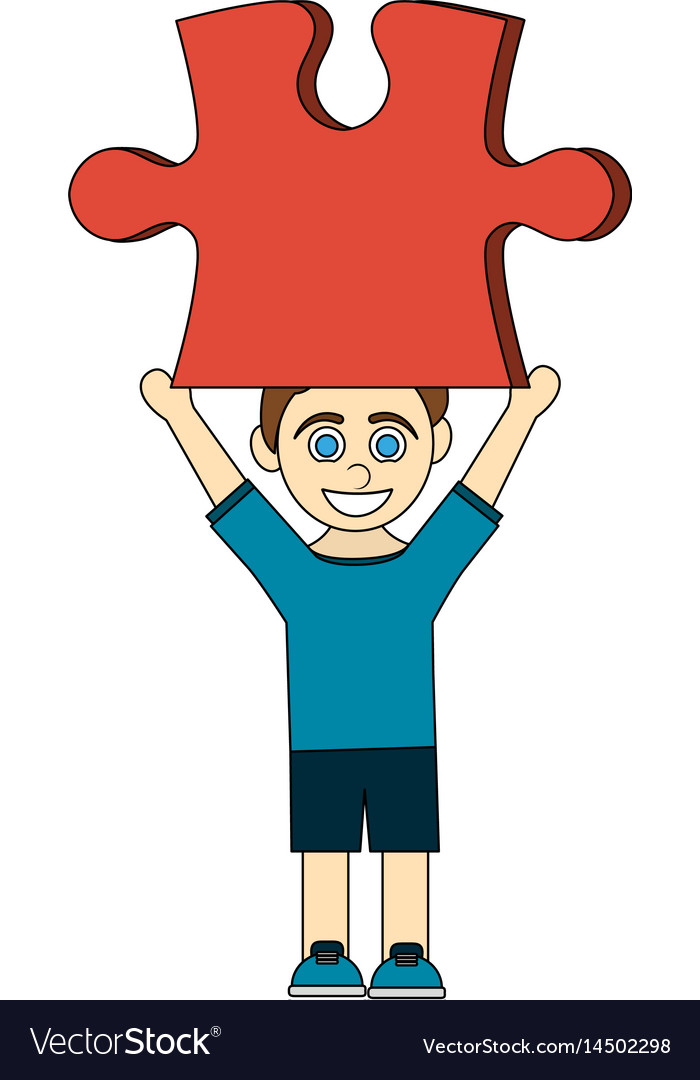 Colorful caricature boy with red puzzle piece up