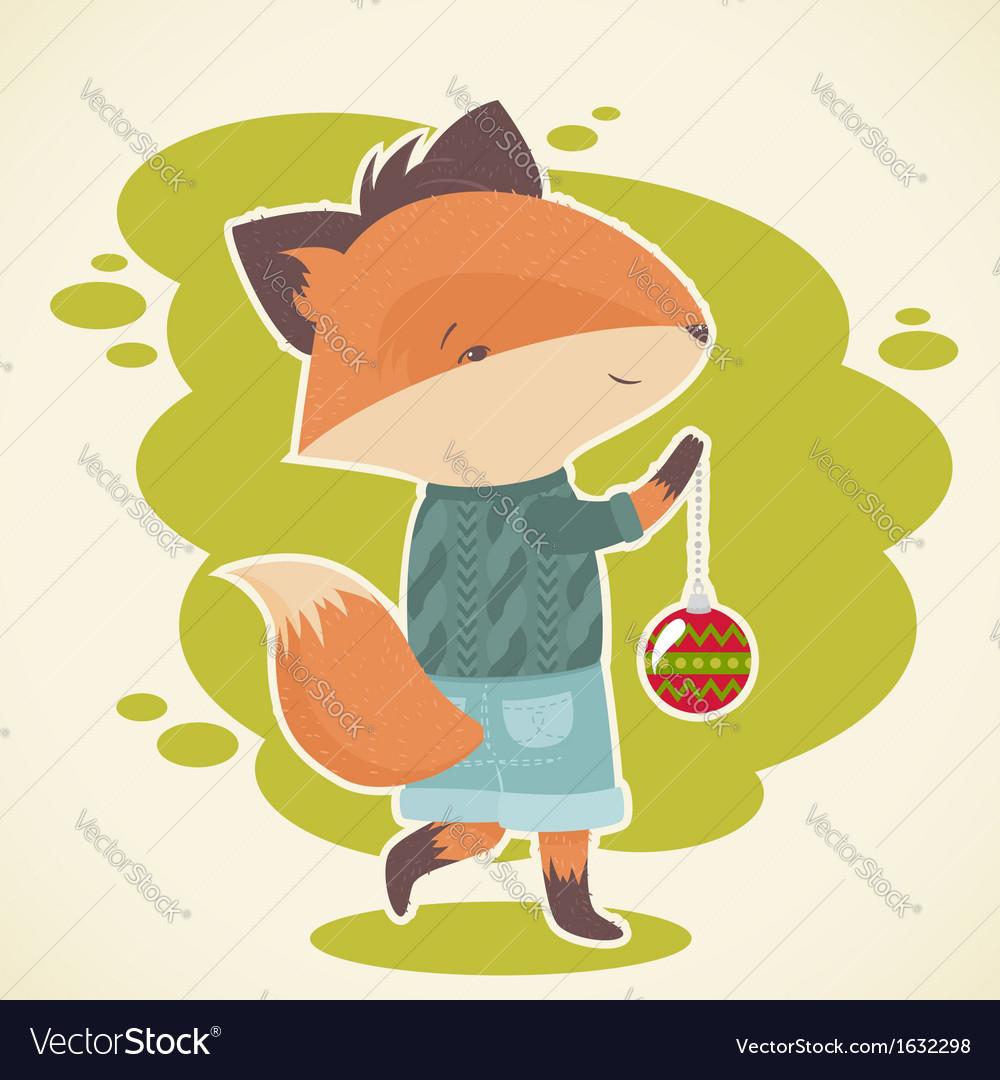 Cute cartoon fox character celebration card