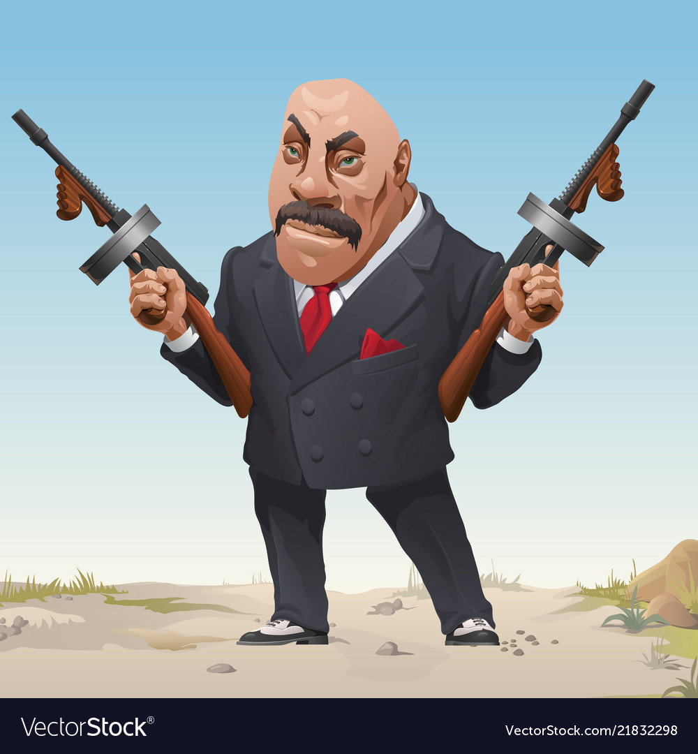 gangster in stylish business fashion suit and vector image
