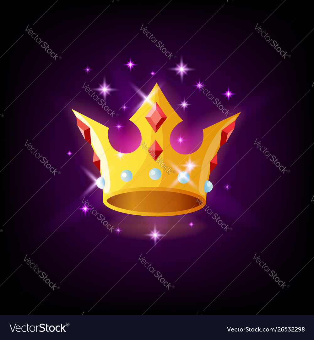 Gold crown with precious stones and sparkles slot