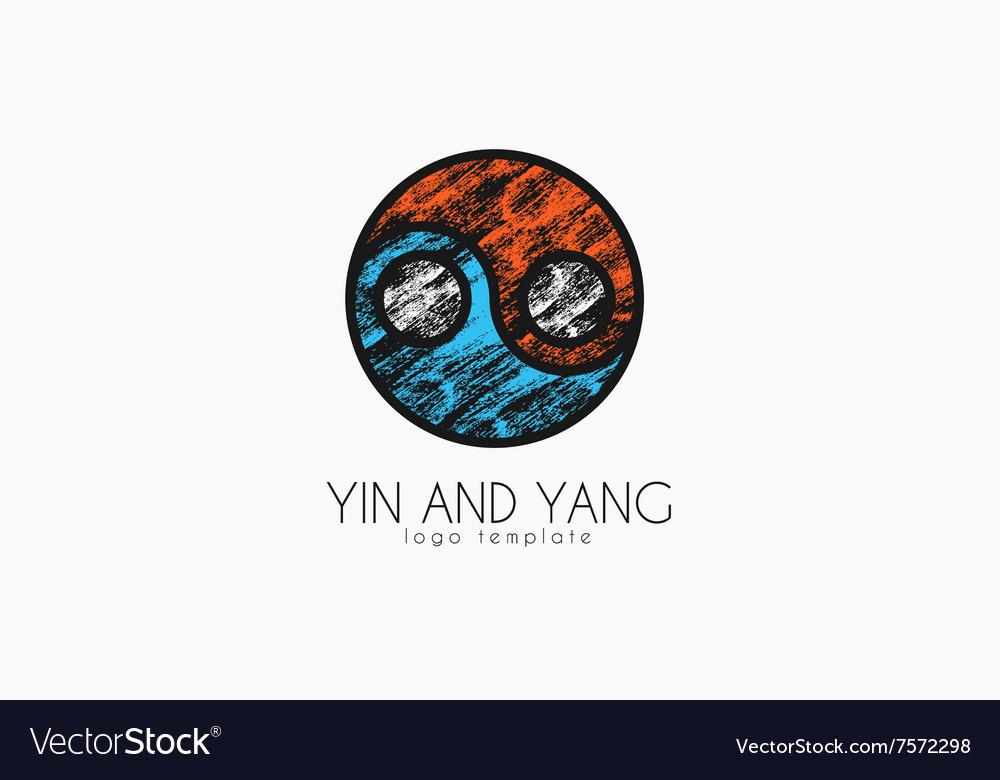 Hand drawn ying yang symbol of harmony and balance