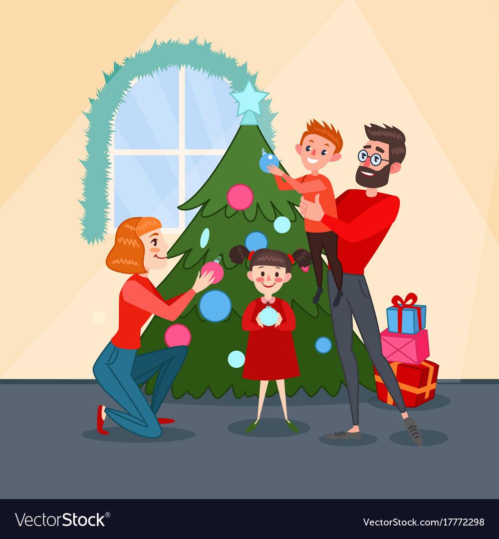 Happy family decorating christmas fir tree