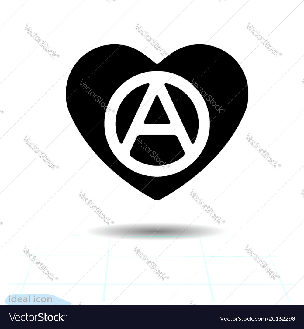 Heart Black Icon Love Symbol The Anarchy Sign In Vector Image
