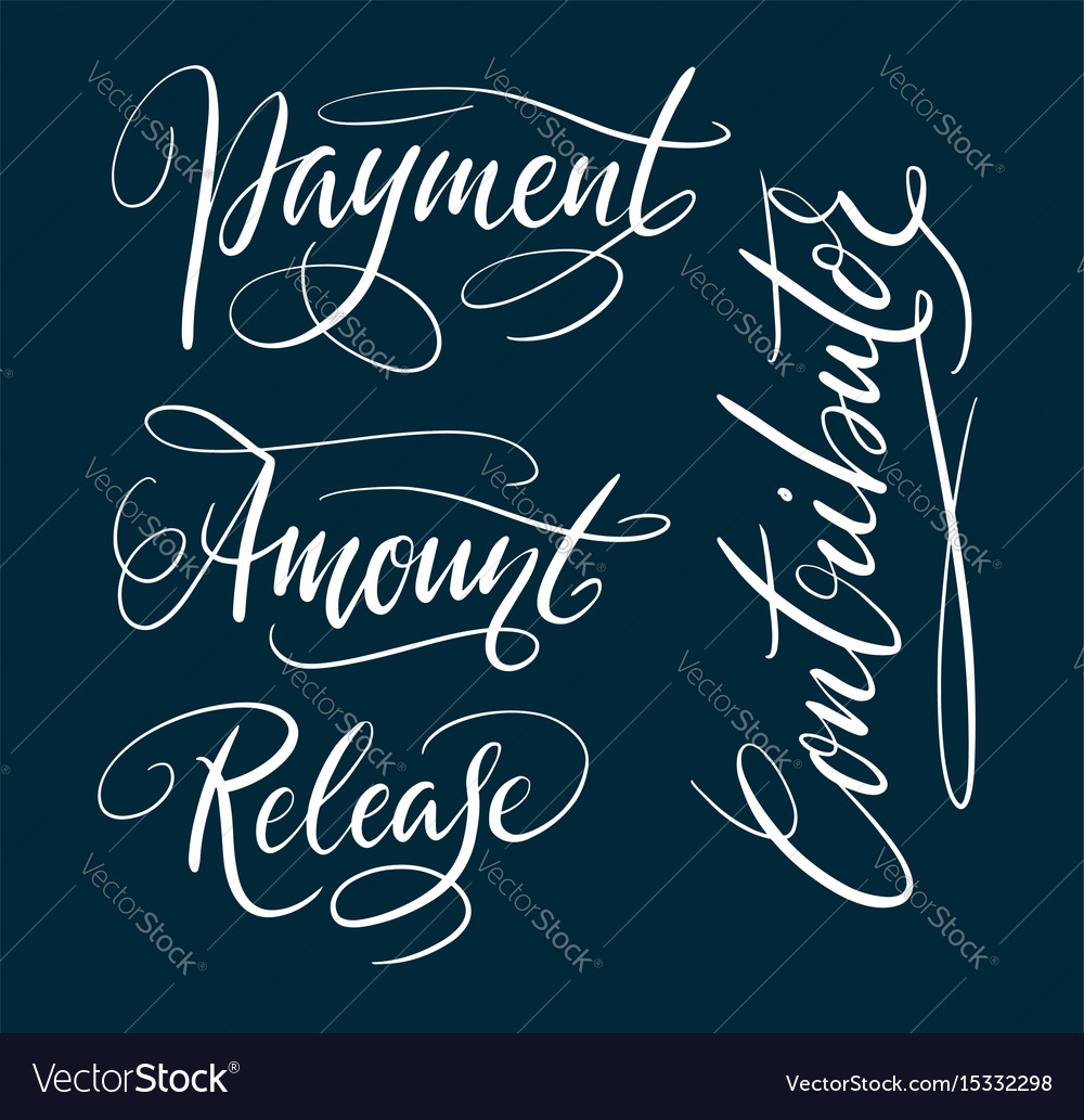 Payment and contributor hand written typography vector image