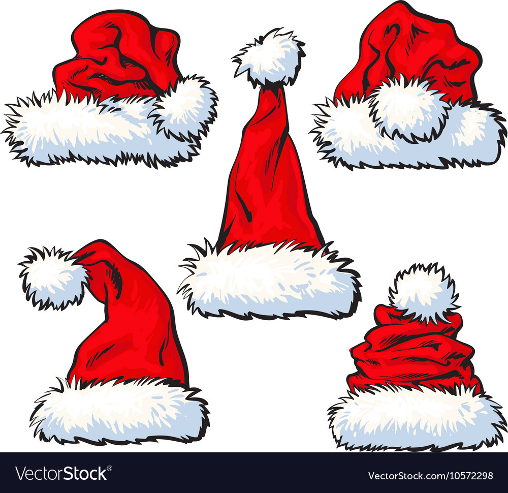 Set of red Santa Claus hat isolated on white vector image