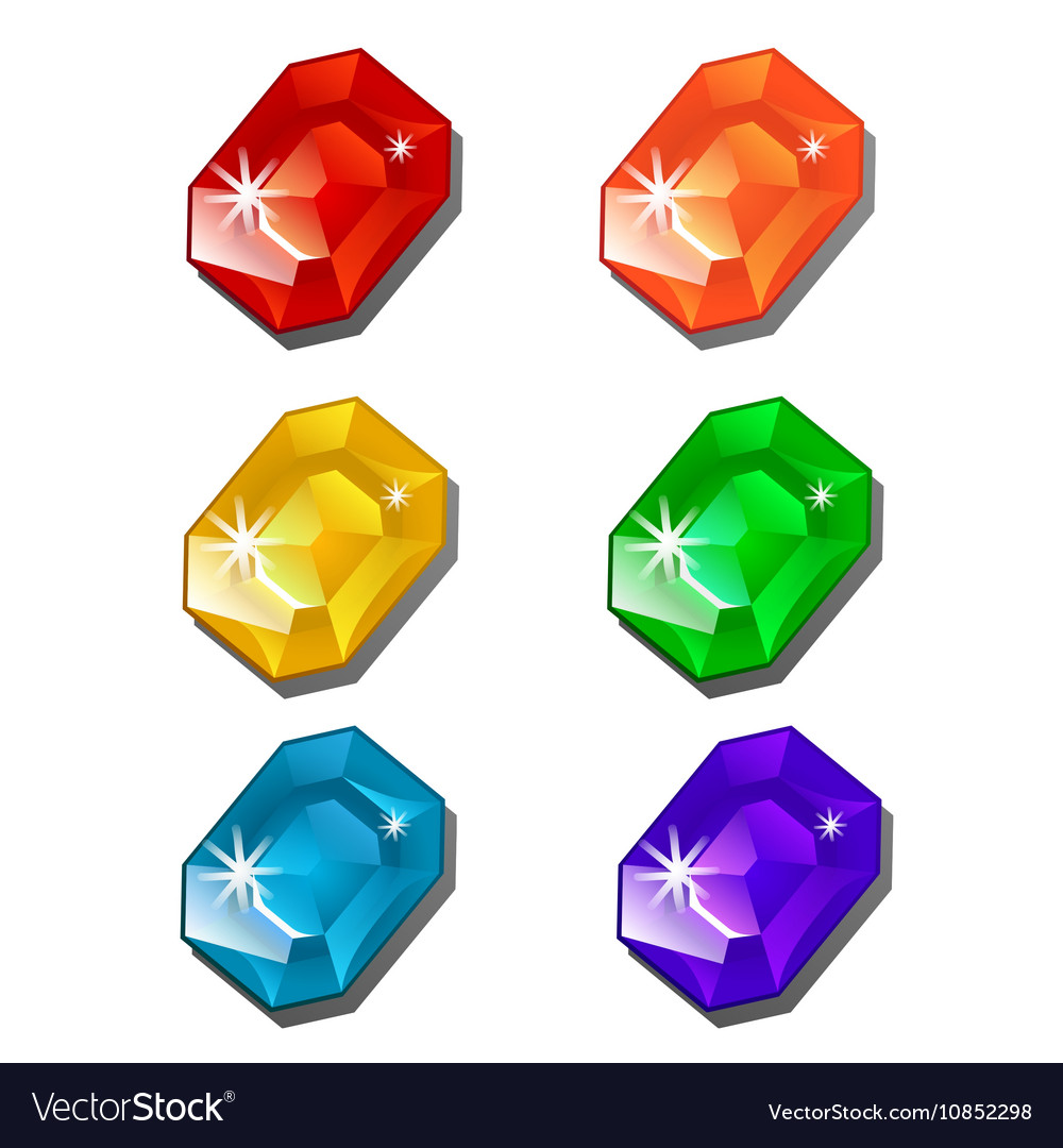 Six gems of different colors on white background