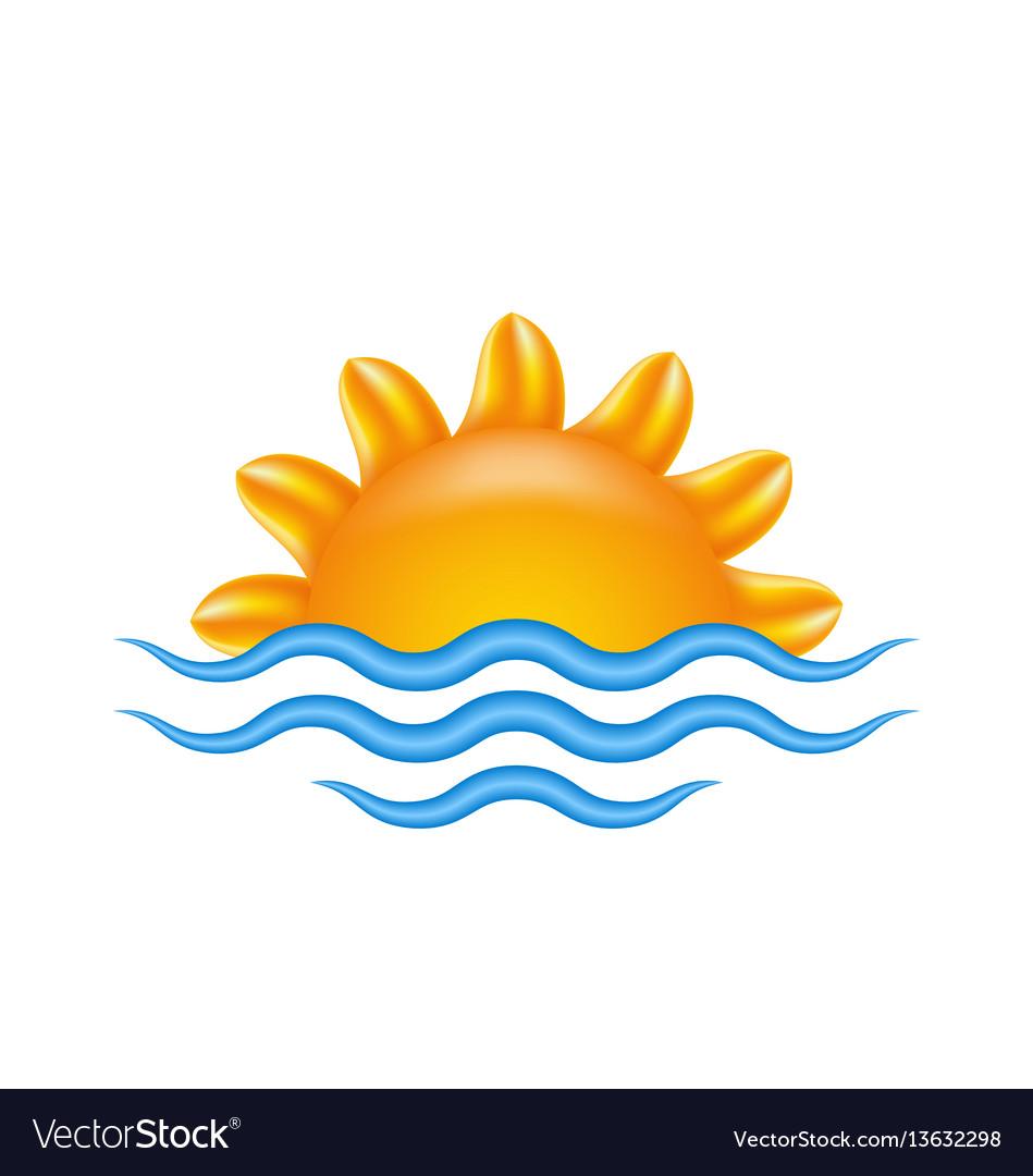 Sun and sea for logo abstract creative concept