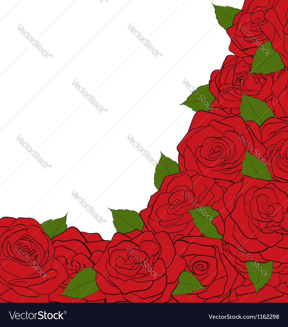 White background for a card decorated with roses vector image